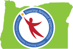 21st CCLC Logo - a green shape of Oregon on the background, a blue circle with a red human shape in the middle that looks to be flying. In the circle are the words
