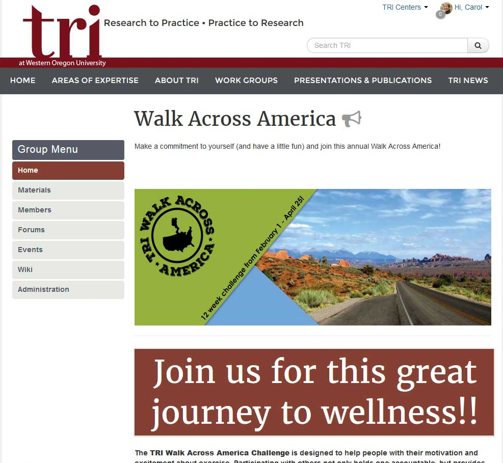 Walk Across America group page on the TRI website - WAM logo and text that reads