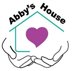 Abby's House Logo - a line drawing of a house resting in a line drawing of two hands. In the middle of the house is a heart.